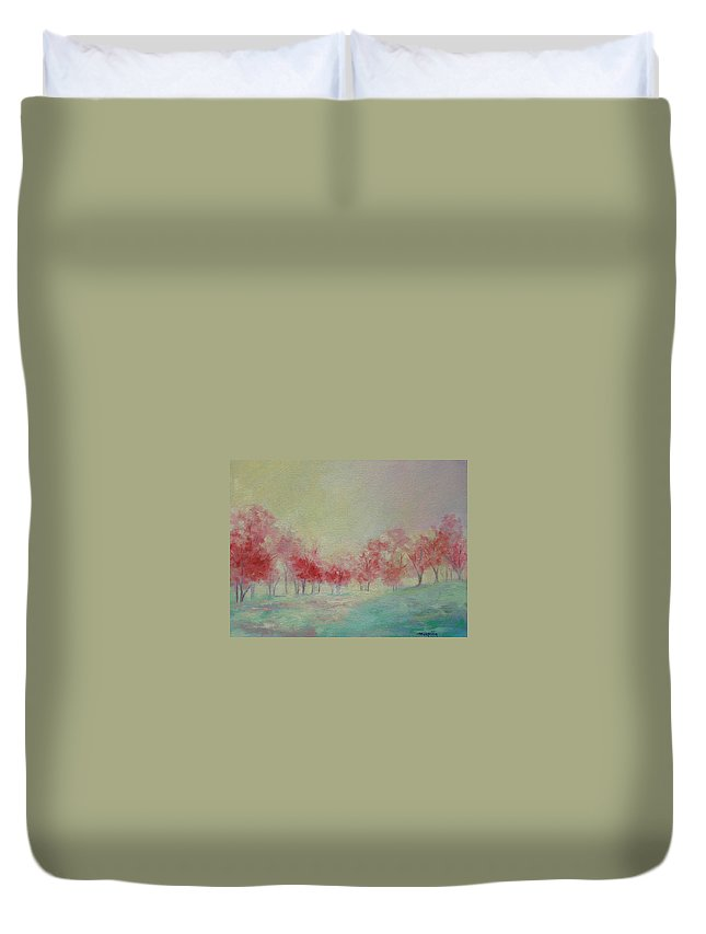 Impressionist Trees Duvet Cover featuring the painting Treeline by Ginger Concepcion