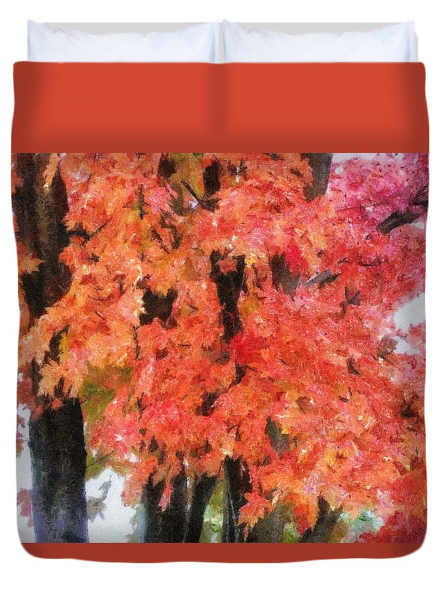 Flame Duvet Cover featuring the painting Trees Aflame by Jeffrey Kolker