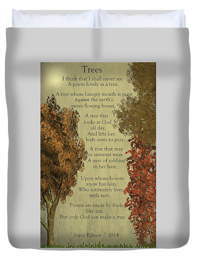 Trees Duvet Cover featuring the mixed media Trees by David Dehner