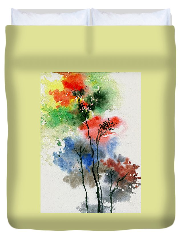 Trees Duvet Cover featuring the painting Trees In Colors by Anil Nene