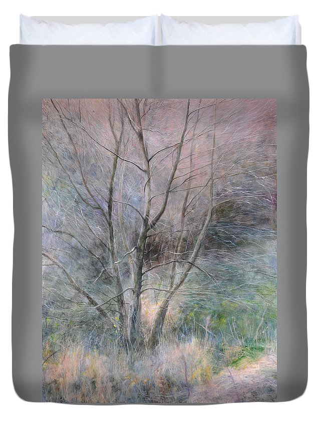 Trees Duvet Cover featuring the painting Trees In Light by Harry Robertson