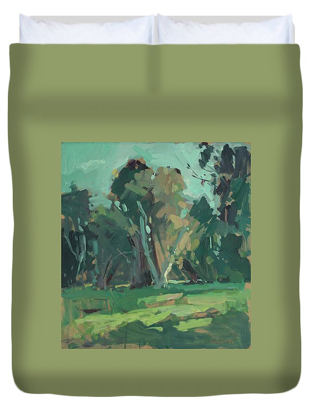 Mike Kirschel Duvet Cover featuring the painting Trees In Sunlight by Mike Kirschel