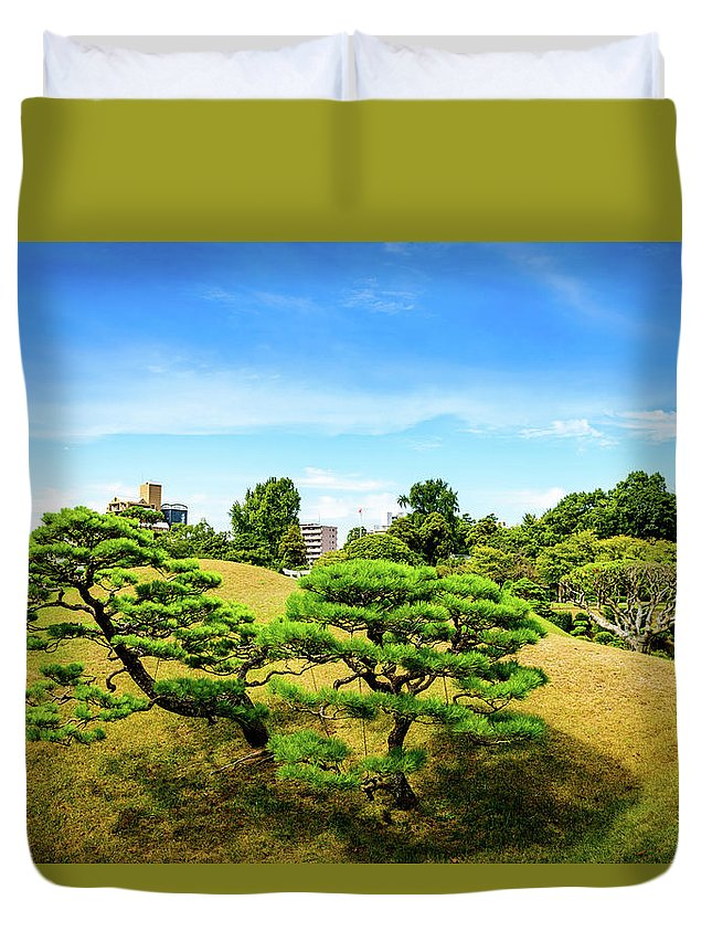 Asia Duvet Cover featuring the photograph Trees In The City by Michael Scott