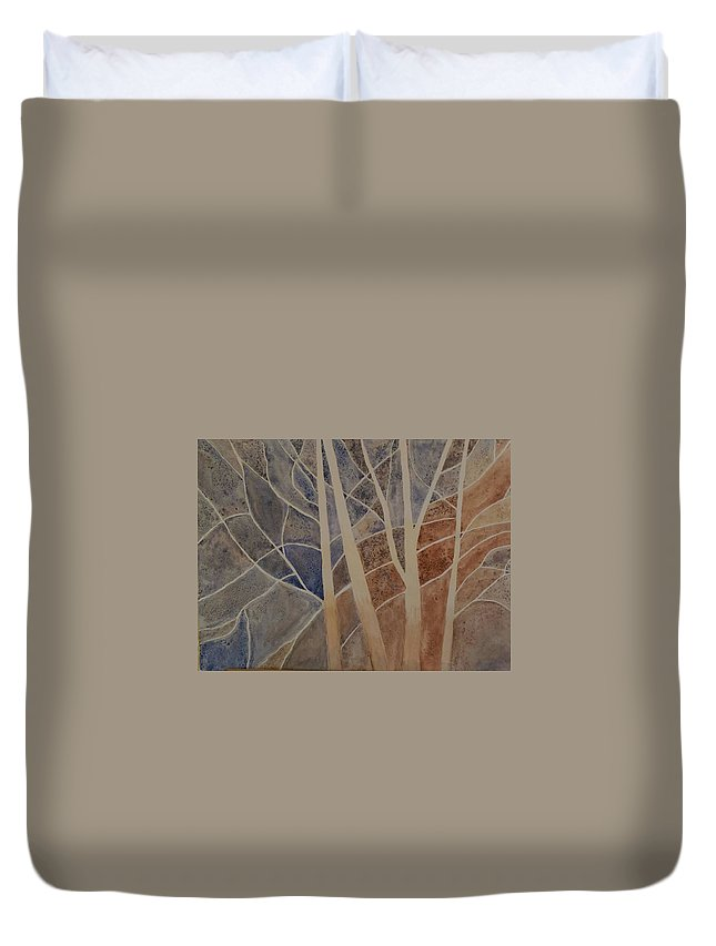 Duvet Cover featuring the painting Trees In The Dead Of Winter by Wendy Buster