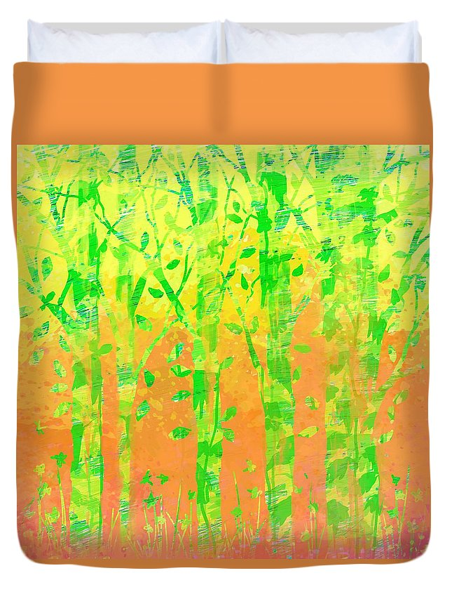 Abstract Duvet Cover featuring the digital art Trees in the Grass by William Russell Nowicki