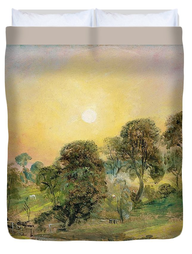 Trees Duvet Cover featuring the painting Trees On Hampstead Heath At Sunset by John Constable