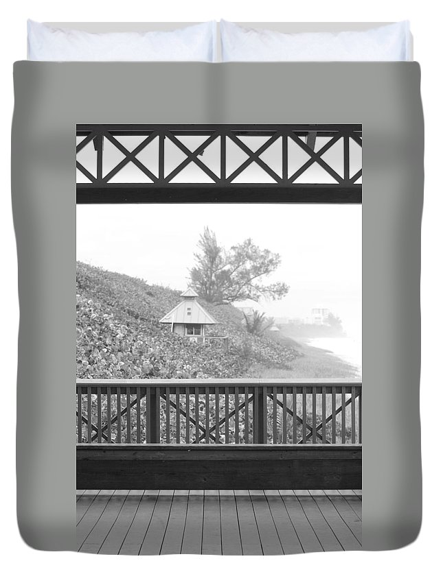 Black And White Duvet Cover featuring the photograph Trees On The Hill by Rob Hans