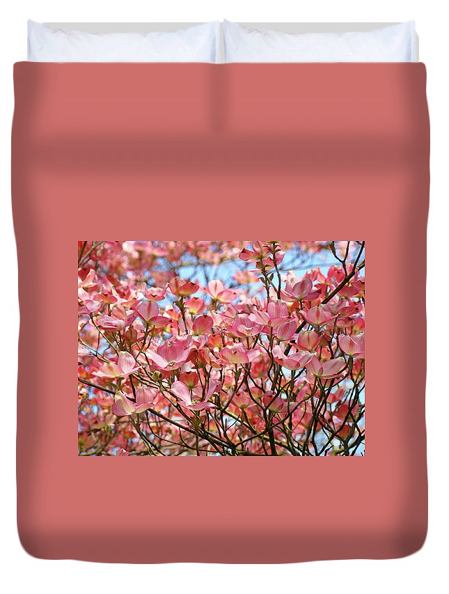 Dogwood Duvet Cover featuring the photograph Trees Pink Spring Dogwood Flowers Baslee Troutman by Baslee Troutman