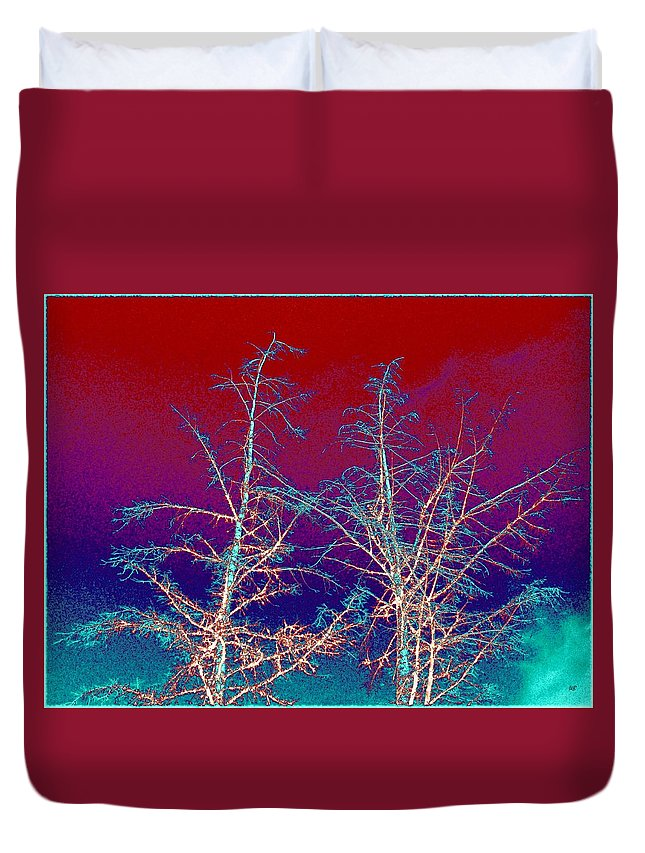 Abstract Duvet Cover featuring the digital art Treetops 4 by Will Borden