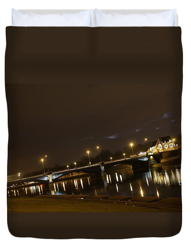 A Night Time View Of Trent Bridge In Nottingham Duvet Cover featuring the photograph Trent Bridge by Gillian Lovett