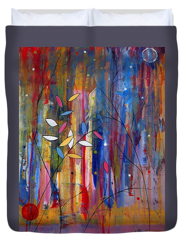 Abstract Duvet Cover featuring the painting Tres Jolie by Ruth Palmer