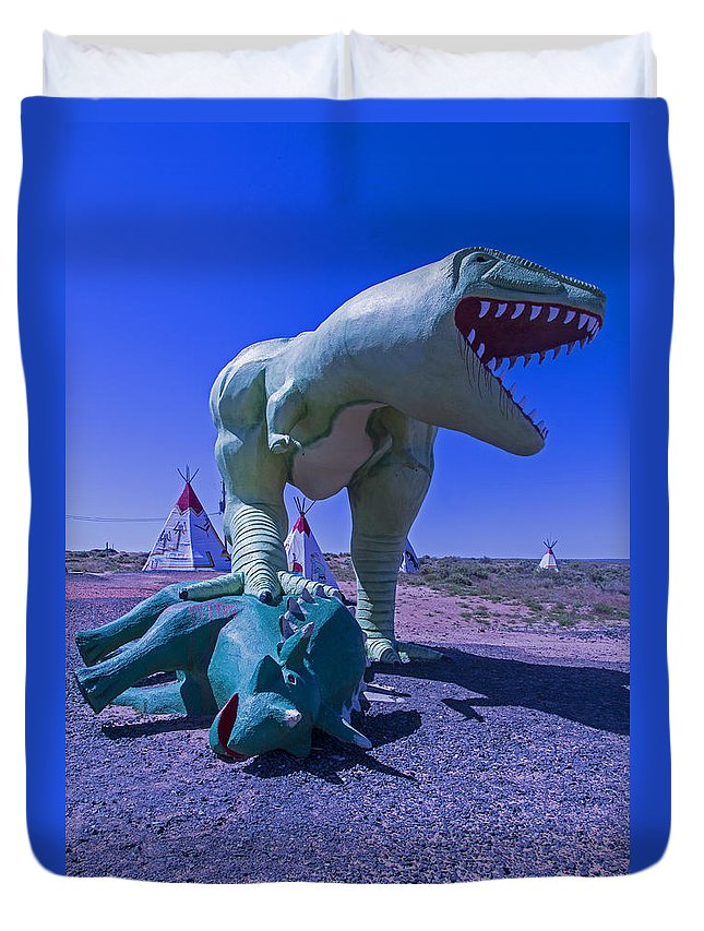 Roadside Dinosaur Duvet Cover featuring the photograph Trex And Triceratops by Garry Gay