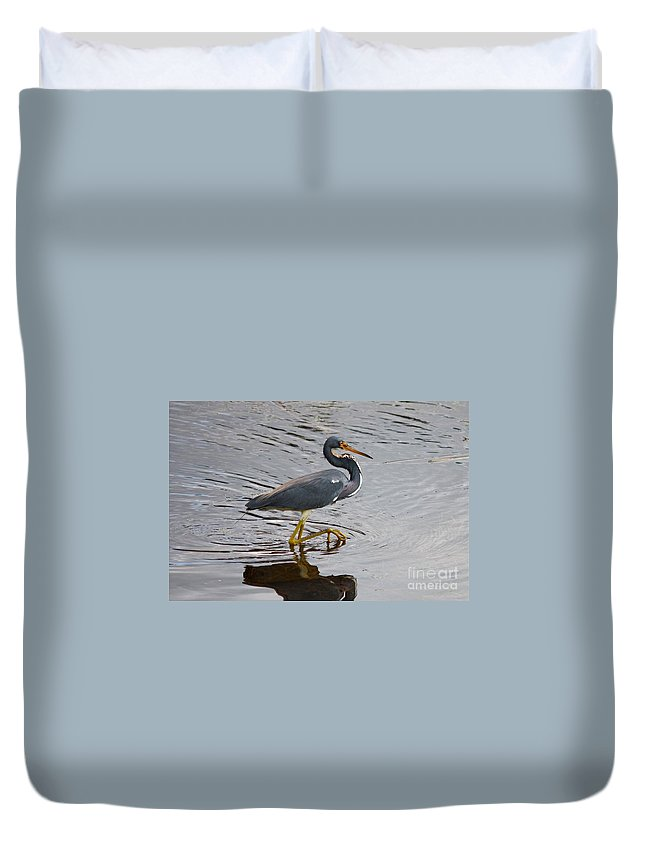 Bird Duvet Cover featuring the photograph Tri-colored Heron Wading In The Marsh by Carol Groenen