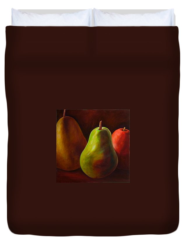 Fruit Duvet Cover featuring the painting Tri Pear by Shannon Grissom