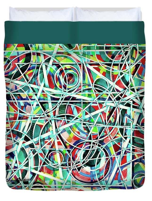 Original Art Duvet Cover featuring the painting Triangle Interlacing by Carolyn Coffey Wallace