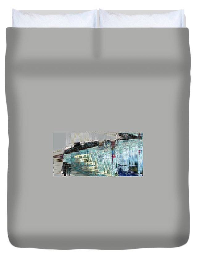 Abstract Duvet Cover featuring the digital art Triangle Lake by Lenore Senior