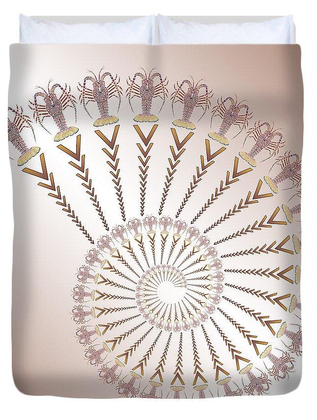 Tribal Duvet Cover featuring the digital art Tribal Caribbean Lobster Spiral Shell by Heather Schaefer