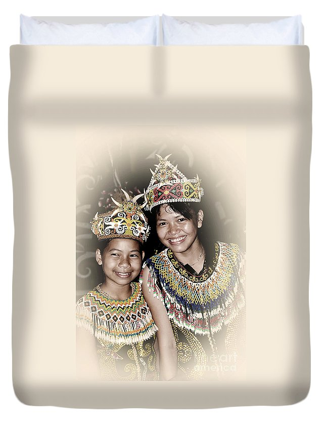 Duvet Cover featuring the photograph Tribal Girls by Charuhas Images