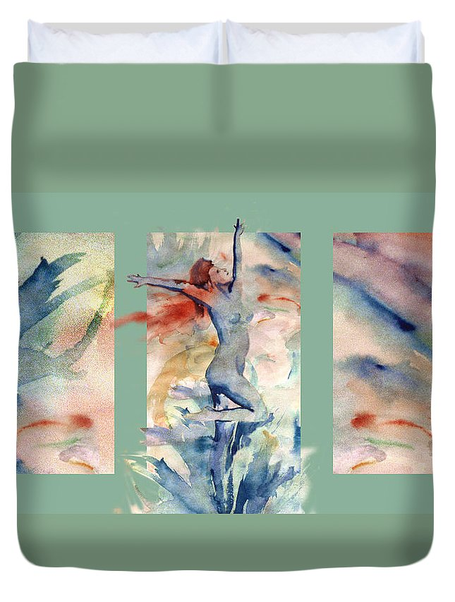 Abstract Duvet Cover featuring the painting Tribute by Steve Karol