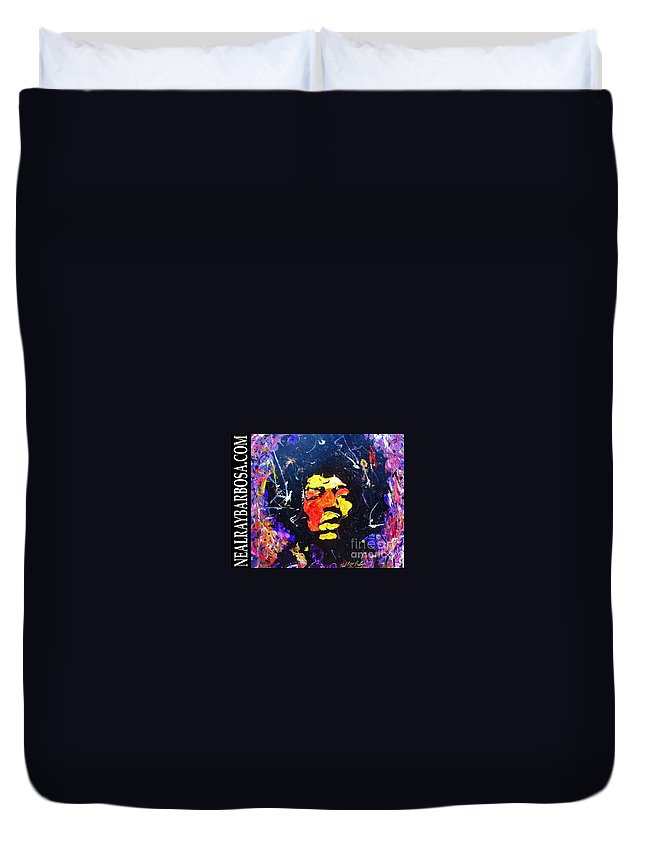Duvet Cover featuring the painting Tribute To Jimi Hendrix by Neal Barbosa