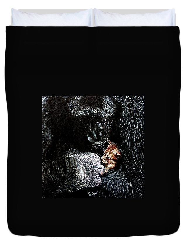 Gorillia Duvet Cover featuring the painting Tribute to Koko by Stan Hamilton