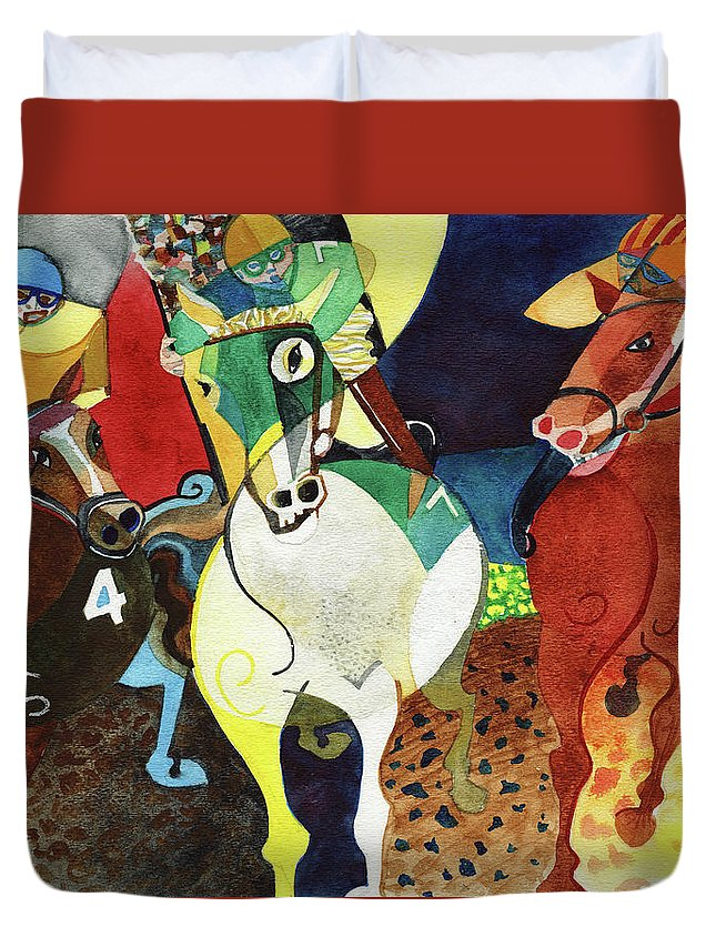 Horses Duvet Cover featuring the painting Trifecta by David Ralph