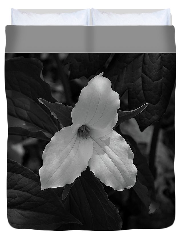 Digital Duvet Cover featuring the photograph Trillium 2 Bw by Jeff Roney