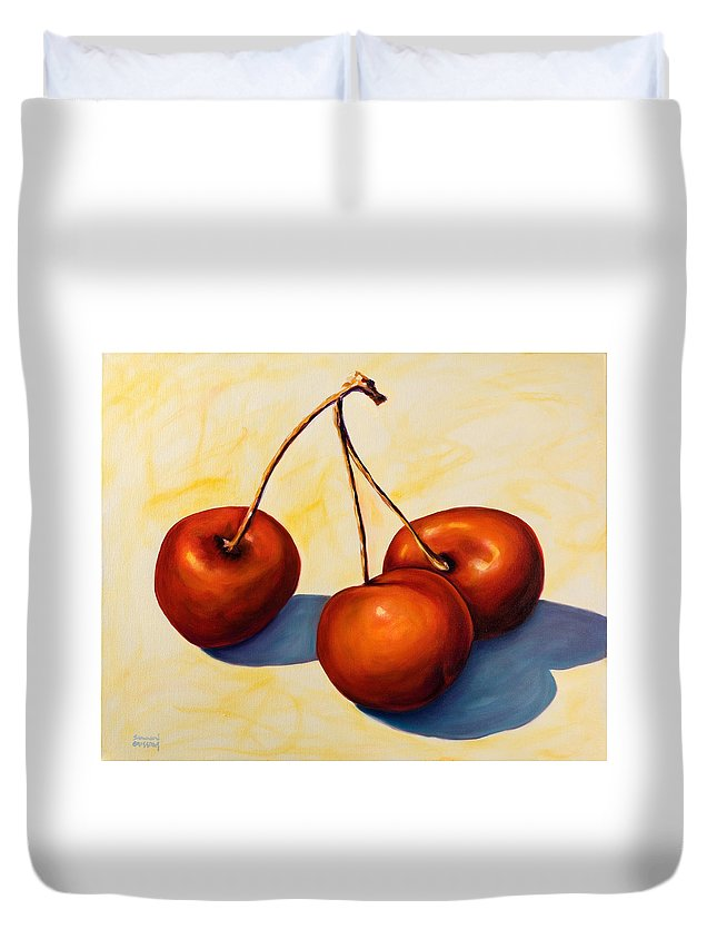 Cherries Duvet Cover featuring the painting Trilogy by Shannon Grissom