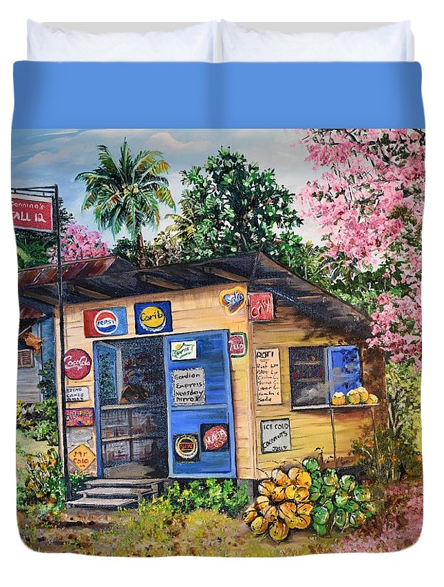 Trinidad And Tobago Shop Duvet Cover featuring the painting Trinidad Country Parlour by Karin Dawn Kelshall- Best