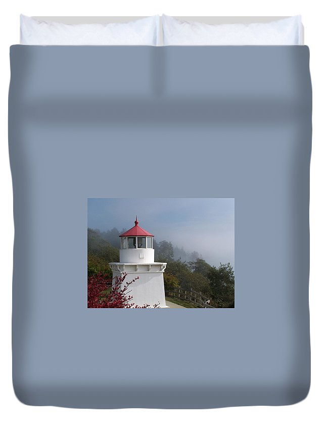 Lighthouse Duvet Cover featuring the photograph Trinidad Head Lighthouse by Gale Cochran-Smith