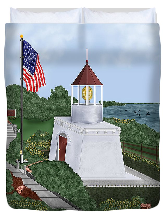 Trinidad Memorial Duvet Cover featuring the painting Trinidad Memorial Lighthouse by Anne Norskog