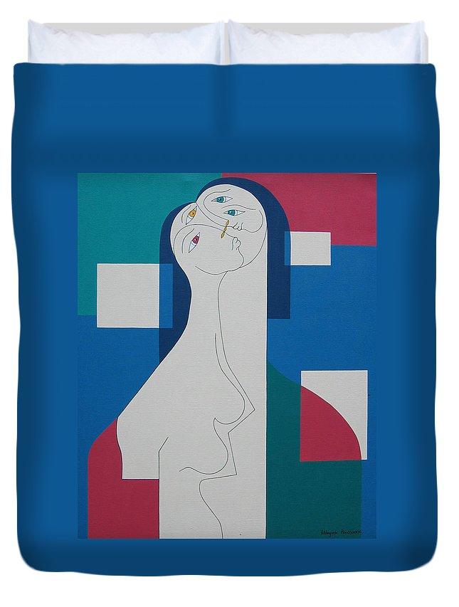 Modern Women Bleu Green Red Humor Duvet Cover featuring the painting Trio by Hildegarde Handsaeme
