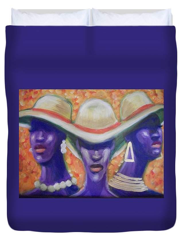 Ladies Duvet Cover featuring the painting Trio by Jan Gilmore