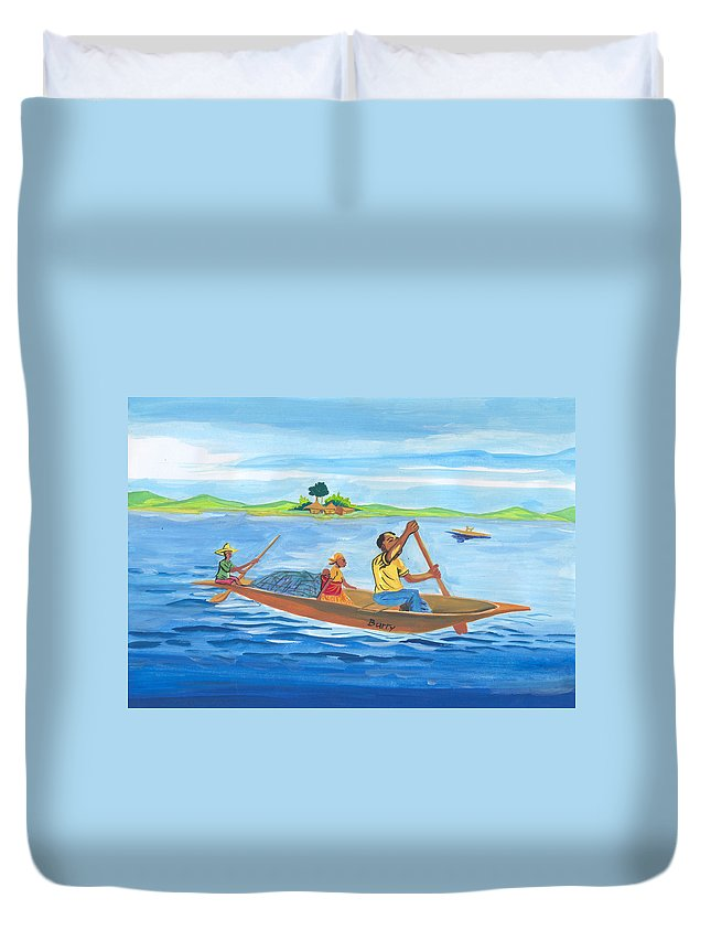 Landscapes Duvet Cover featuring the painting Trip To Lake Kivu In Congo by Emmanuel Baliyanga