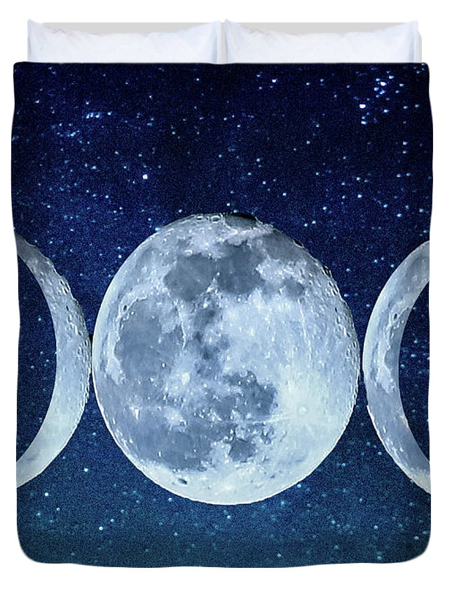 Triple Duvet Cover featuring the photograph Triple Moon Milkyway by Paula OMalley