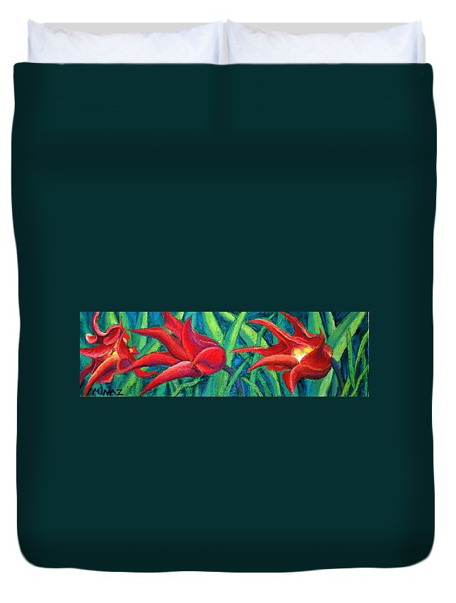 Tulips Duvet Cover featuring the painting Triple Tease Tulips by Minaz Jantz
