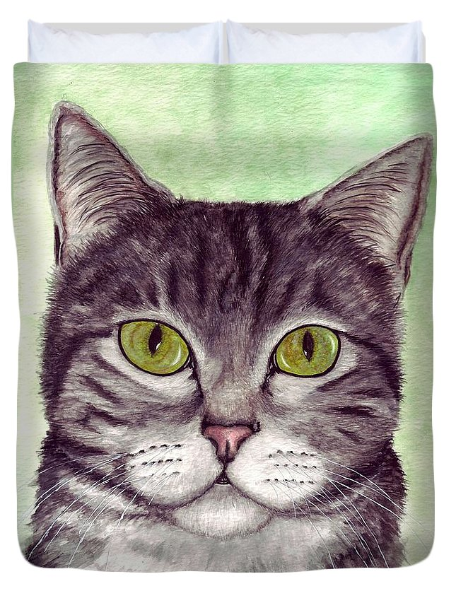 Cat Duvet Cover featuring the painting Tripper by Kristen Wesch