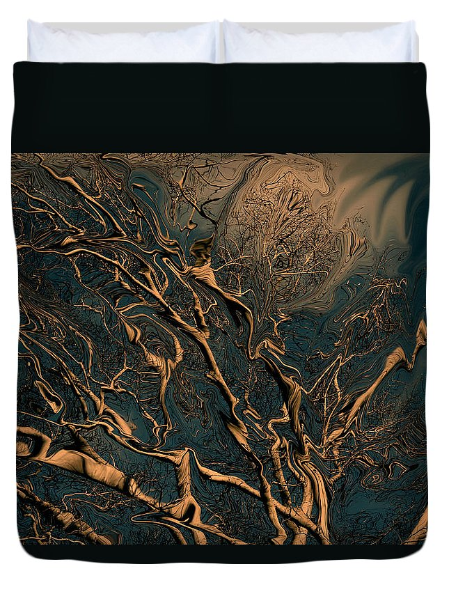 Trees Nature Abstract Digital Painting Duvet Cover featuring the photograph Trippy Tree by Linda Sannuti