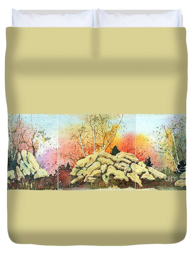 Landscape Duvet Cover featuring the painting Triptych by Lynn Quinn