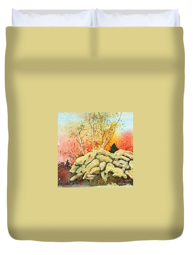 Landscape Duvet Cover featuring the painting Triptych Panel 2 by Lynn Quinn