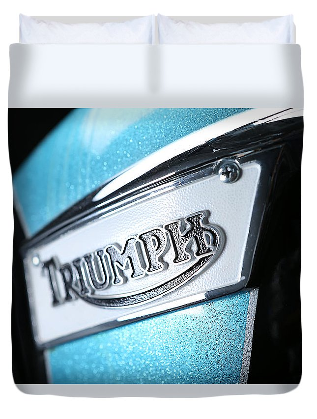 Triumph Duvet Cover featuring the photograph Triumph Badge by Keith May