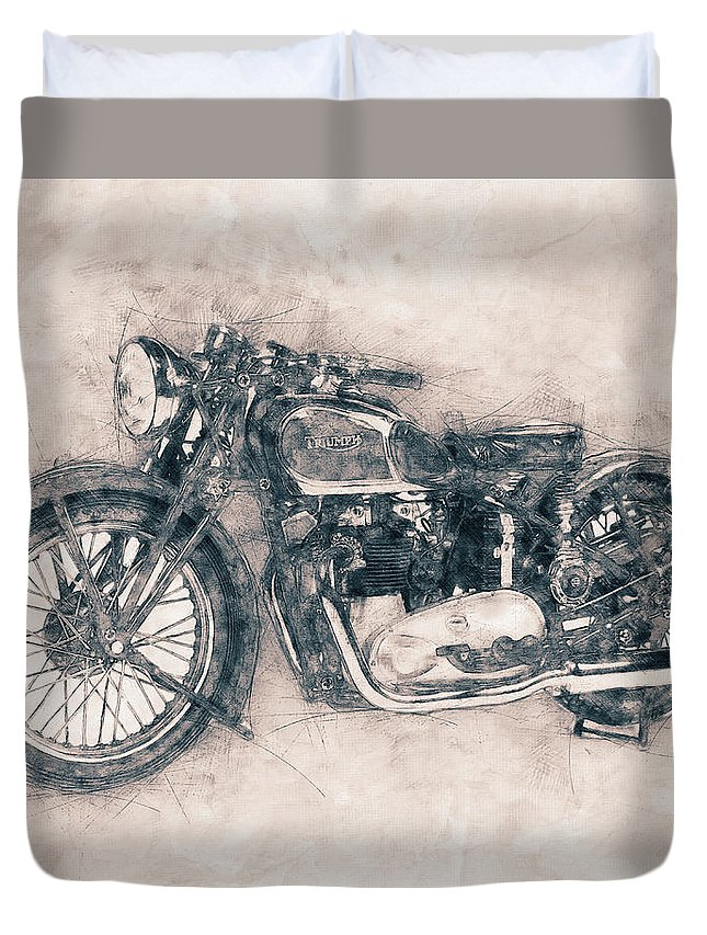 Triumph Speed Twin Duvet Cover featuring the mixed media Triumph Speed Twin - 1937 - Vintage Motorcycle Poster - Automotive Art by Studio Grafiikka