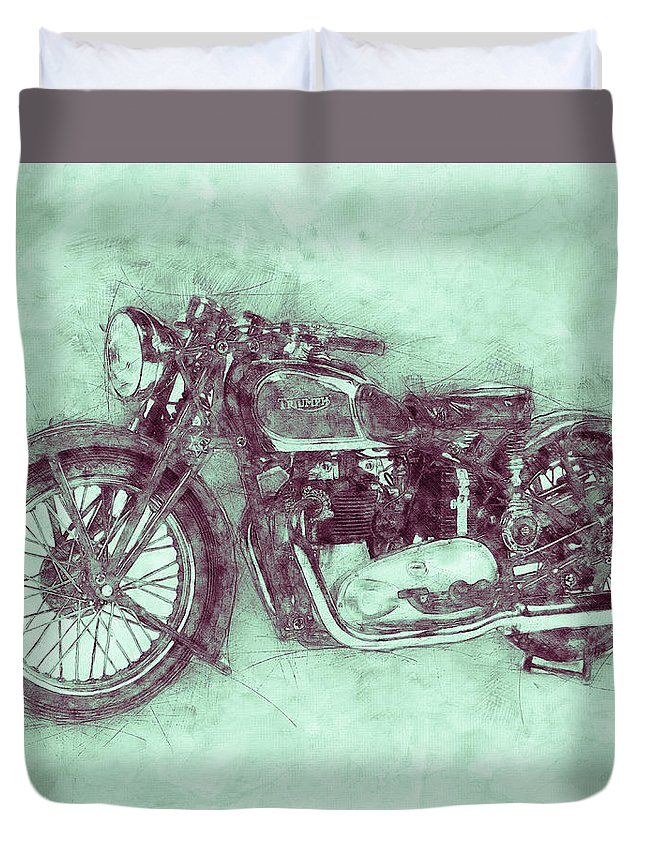 Triumph Speed Twin Duvet Cover featuring the mixed media Triumph Speed Twin 3 - 1937 - Vintage Motorcycle Poster - Automotive Art by Studio Grafiikka