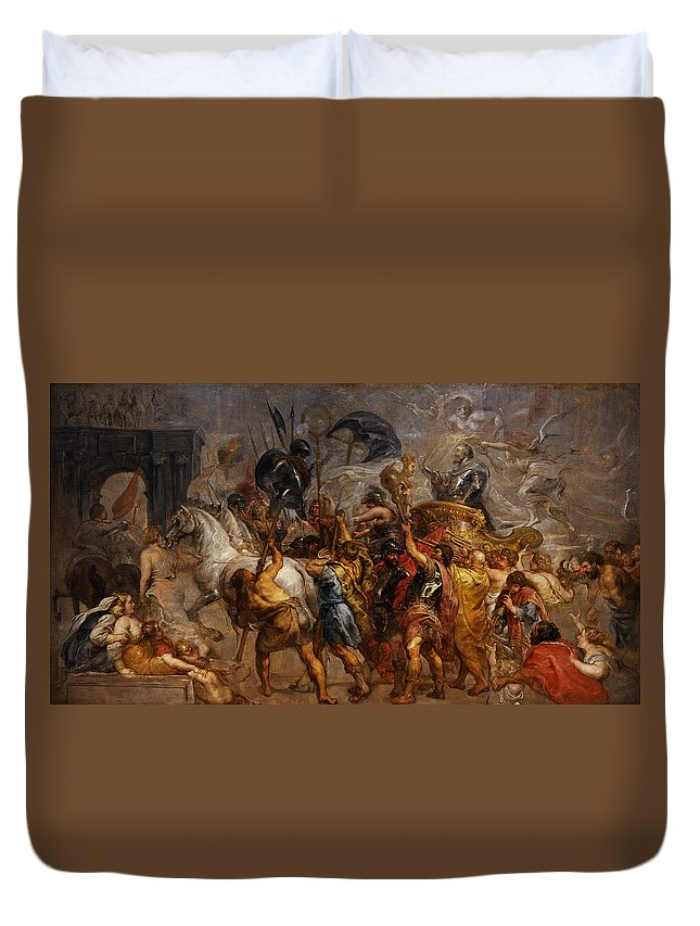 Peter Paul Rubens Duvet Cover featuring the painting Triumphal Entry Of Henry Iv In Paris by Peter Paul Rubens
