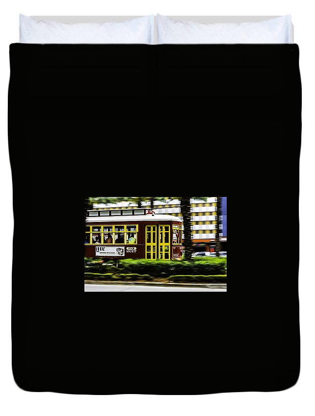 Trolley Duvet Cover featuring the photograph Trolley Car In Motion, New Orleans, Louisiana by Chris Coffee