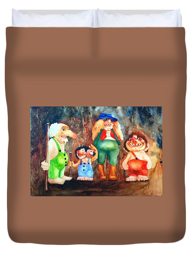Trolls Duvet Cover featuring the painting Trolls by Karen Stark
