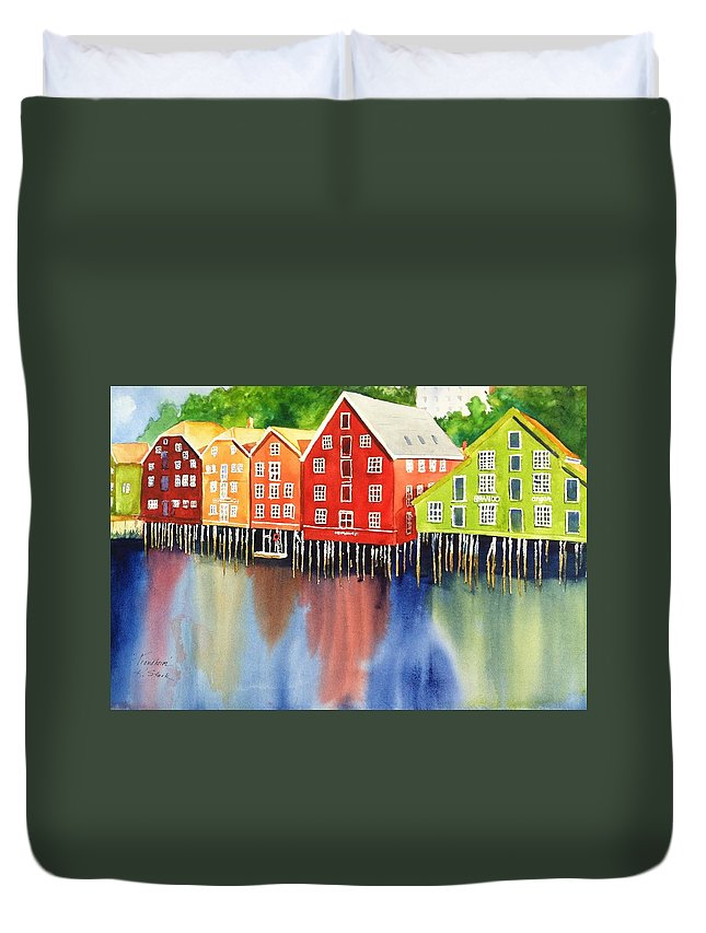 Norway Duvet Cover featuring the painting Trondheim by Karen Stark