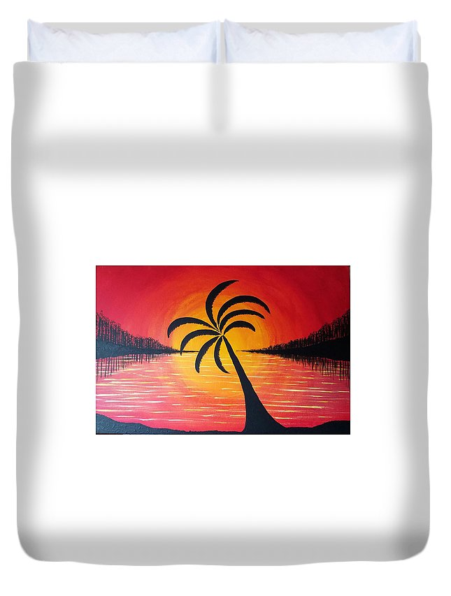 Duvet Cover featuring the painting Tropic Of Palms by Vivi Li