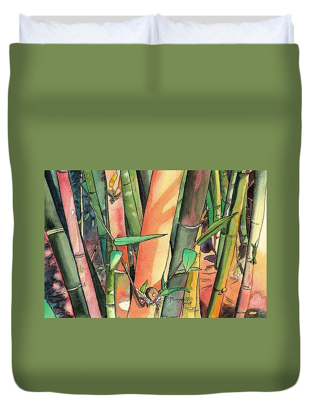 Tropical Bamboo Duvet Cover featuring the painting Tropical Bamboo by Marionette Taboniar