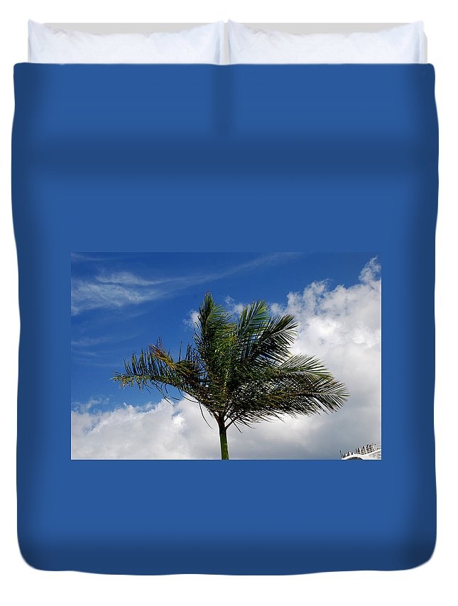 Palm Tree Duvet Cover featuring the photograph Tropical Breeze by Gary Wonning